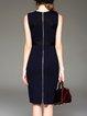 Blue Elegant Sleeveless Bodycon Midi Dress