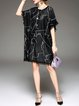 Black Fringed Crew Neck Batwing Geometric Sweater Dress