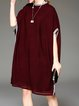 Wine Red Plain Batwing Knitted Ribbed Midi Dress