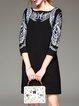 Black Bateau/boat Neck Embroidered H-line Casual Mini Dress