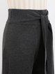 Deep Gray Cotton-blend Casual Wide Leg Pants