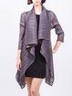Gray Plain Polyester Casual Asymmetrical Cardigan