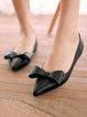 Black Flat Heel Summer Bowknot Leather Flats