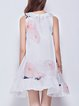 White A-line Crew Neck Resort Organza Mini Dress
