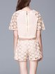 Apricot Pierced Two Piece Crew Neck Frill Sleeve Romper