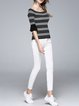 Frill Sleeve Casual Sheath Cotton-blend Stripes Short Sleeved Top