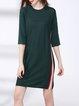 3/4 Sleeve Knitted Casual Mini Dress