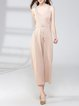 Surplice Neck Cotton-blend Sleeveless Casual Jumpsuit