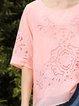 Pink Pierced Half Sleeve High Low Crew Neck Blouse