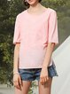 Pink Half Sleeve Crew Neck Blouse