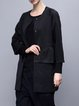 Black H-line Casual Paneled Coat