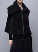 Black Plain Statement Zipper Cape