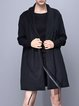 Black Casual Plain H-line Coat