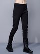 Black Plain Pockets Casual Straight Leg Pants
