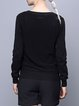 Black H-line Casual Plain Cotton Knitted Sweater
