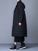 Black Polyester Long Sleeve Hoodie Coat