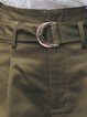 Solid Simple Pockets Shorts with Belt