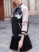Black Color Block Appliqued H-line Casual Bomber Jacket
