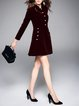 Burgundy A-line Long Sleeve Stand Collar Buttoned Coat