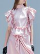Pink Ruffled Polyester Short Sleeve Blouse