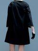 Black A-line Plain Casual Square Neck Mini Dress