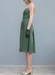 Army Green Spaghetti Plain A-line Midi Dress