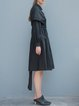 Black Plain A-line Casual Shirred Shirt Dress