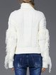 White Solid Acrylic Ribbed Casual Sweater