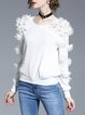White Girly Appliqued Long Sleeved Top