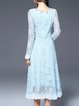 Light Blue Crocheted Long Sleeve Round Neck Sheath Midi Dress