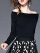 Off Shoulder Solid Long Sleeve Elegant Sweater
