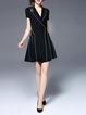 Lapel Elegant Short Sleeve A-line Mini Dress