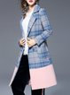 Blue Checkered/Plaid Elegant Lapel H-line Coat