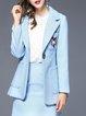 Light Blue Lapel Long Sleeve Blend Embroidered Coat