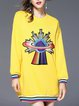 Long Sleeve Abstract Crew Neck Cotton Casual Long Sleeved Top