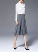 Gray Work Ribbed Midi Skirt