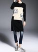 Black Casual H-line Crew Neck Slit Color Block Knitted Sweater
