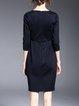 Cocktail Cotton-blend Crew Neck Beaded 3/4 Sleeve Mini Dress