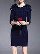 Dark Blue Appliqued Plain 3/4 Sleeve Mini Dress