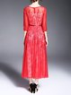 Red Polyester 3/4 Sleeve Embroidered Mesh Paneled Midi Dress