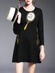 Black Crew Neck Simple A-line Embroidered Appliqued Mini Dress