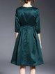 Green Plain 3/4 Sleeve Folds A-line Simple Midi Dress