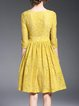 Yellow Crew Neck Crocheted Girly Midi Dress