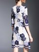 Girly Lace Pierced 3/4 Sleeve Floral Midi Dress