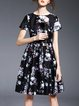 Floral Print Crew Neck A-line Vintage Short Sleeve Midi Dress