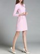 Pink Embroidered Simple Polyester Mini Dress