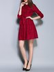 Crimson Elegant A-line Pierced Crocheted Mini Dress