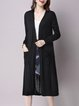 Black Casual Pockets Plain Longline Cardigan