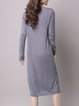 Plain Long Sleeve Crew Neck Casual Midi Dress