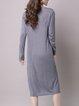 Plain Long Sleeve Crew Neck Casual Midi Dress